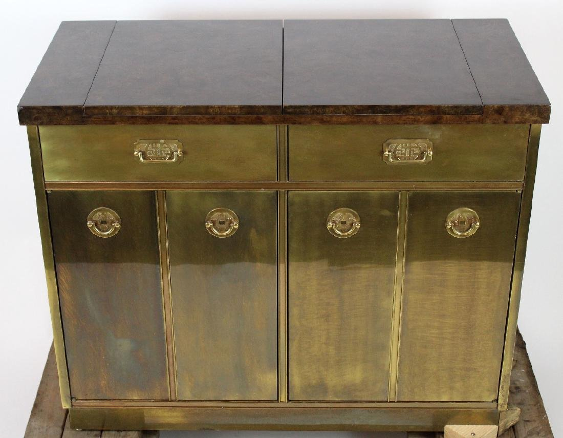 Mastercraft brass sideboard with burled elm top