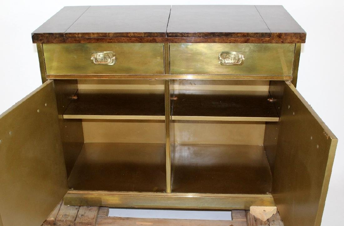 Mastercraft brass sideboard with burled elm top - 2
