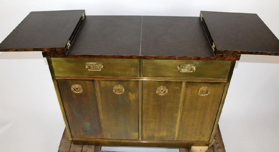 Mastercraft brass sideboard with burled elm top - 4