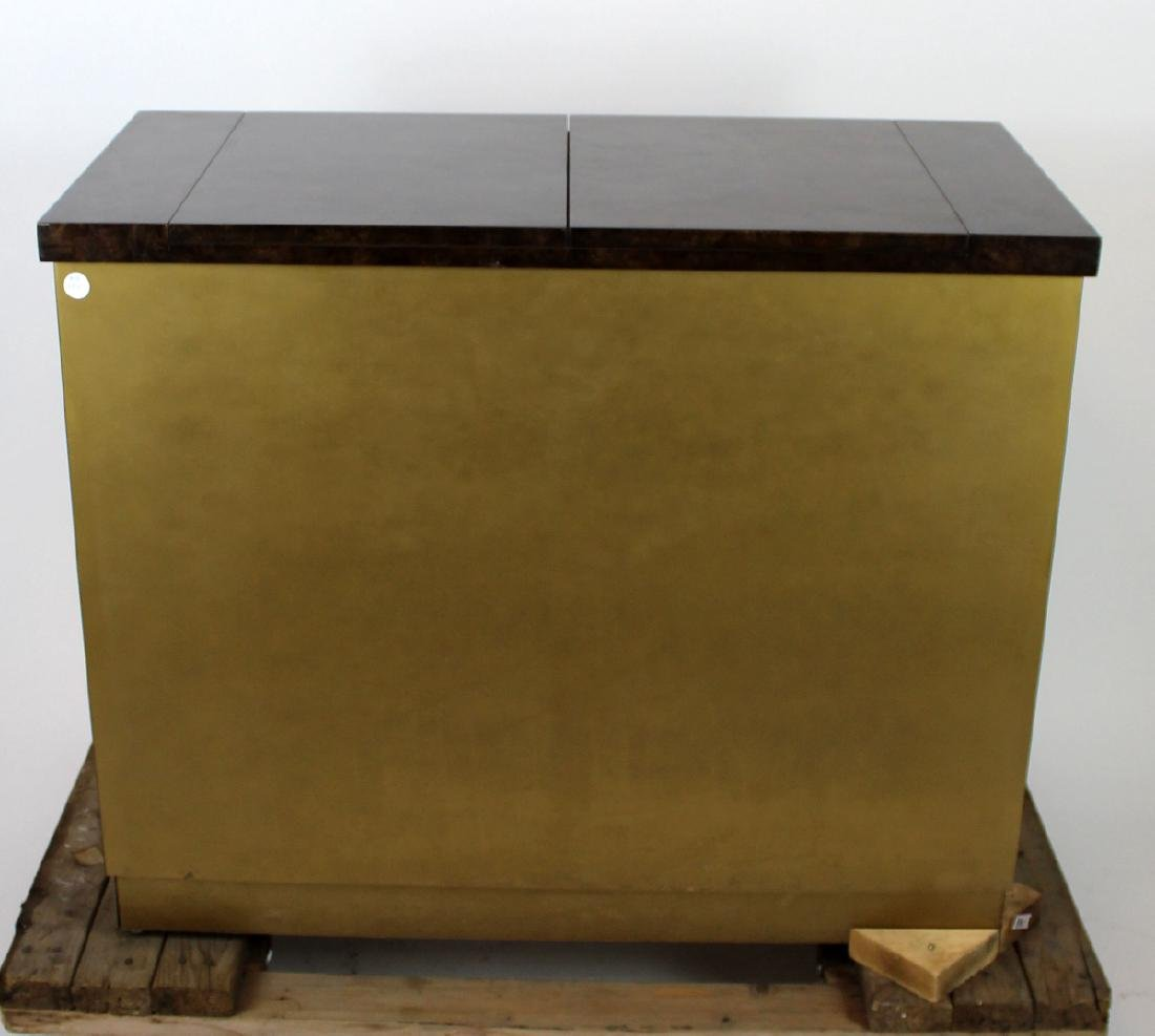 Mastercraft brass sideboard with burled elm top - 5