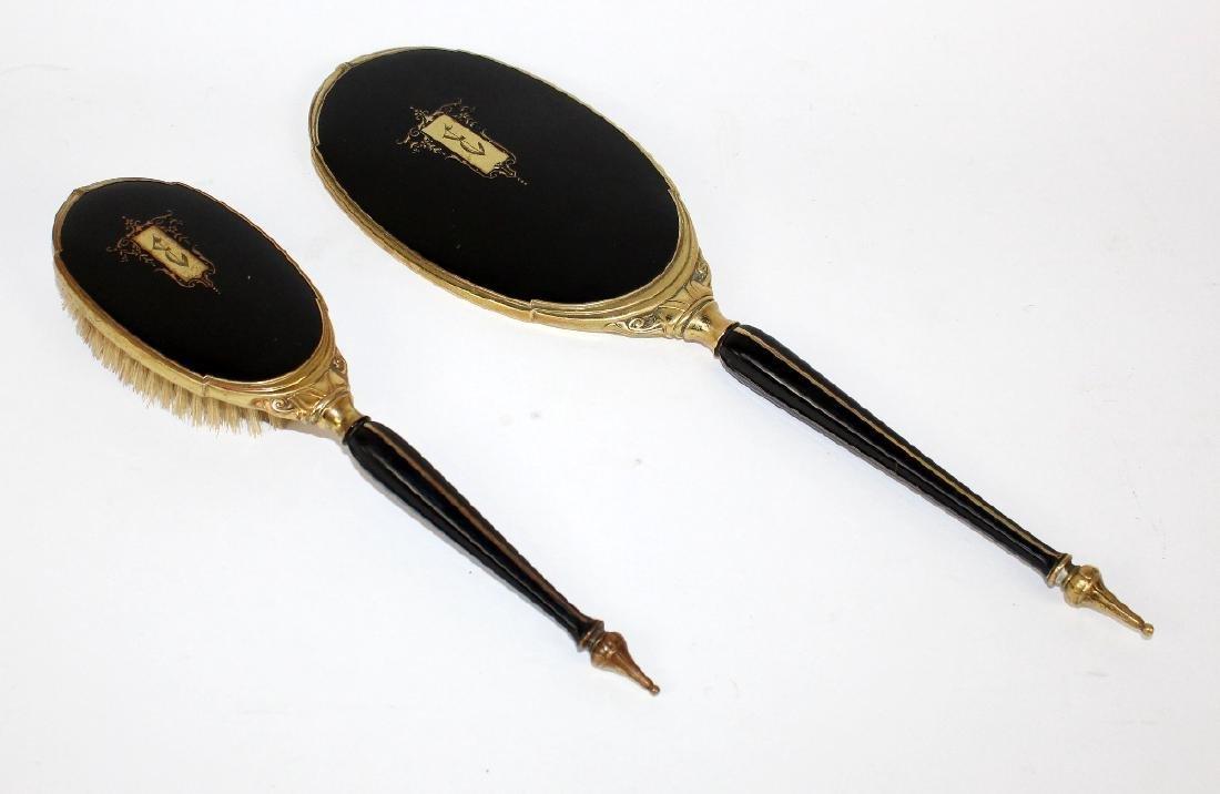 Art Deco hand mirror & brush