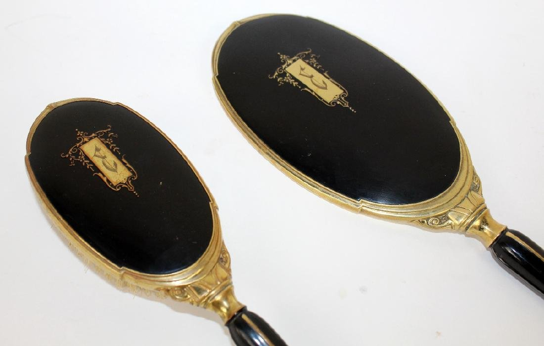 Art Deco hand mirror & brush - 2
