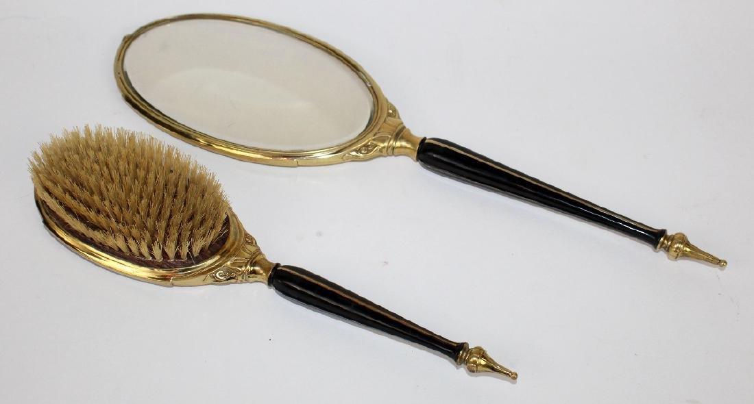 Art Deco hand mirror & brush - 3