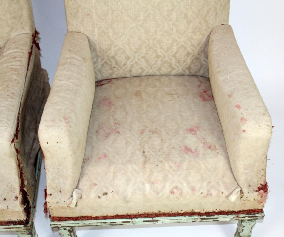 Pair of French armchairs covered in muslin. - 3