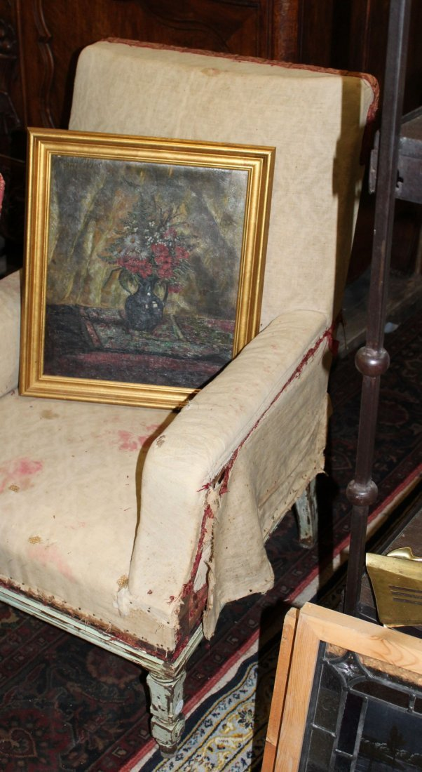 Pair of French armchairs covered in muslin. - 6