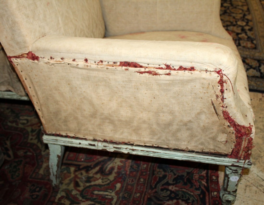 Pair of French armchairs covered in muslin. - 7