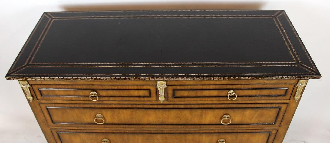 Maitland Smith Empire style leather top commode - 3