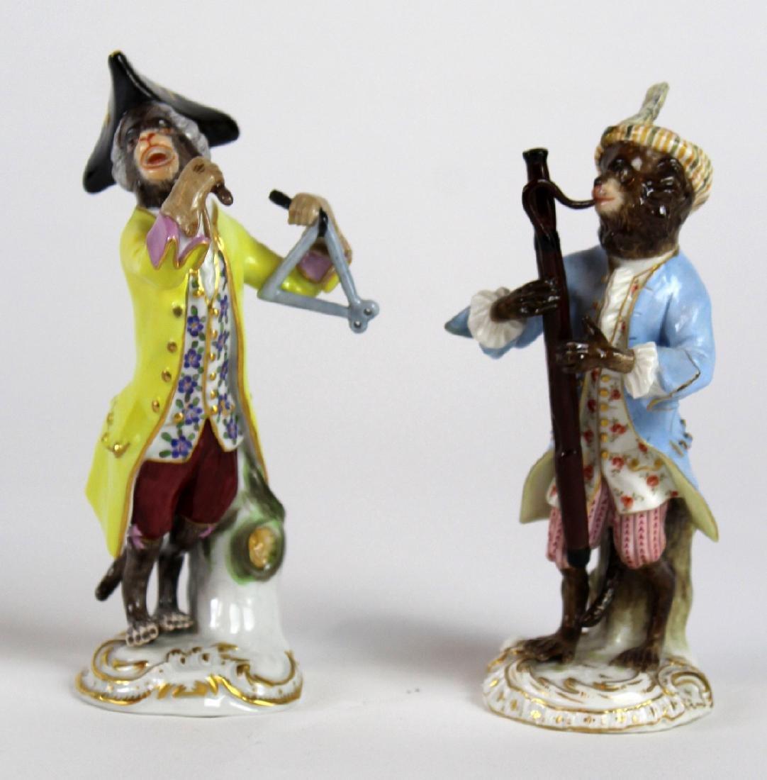 Lot of 2 Meissen porcelain monkey musician figurines