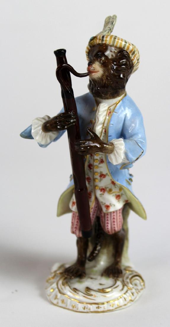 Lot of 2 Meissen porcelain monkey musician figurines - 3