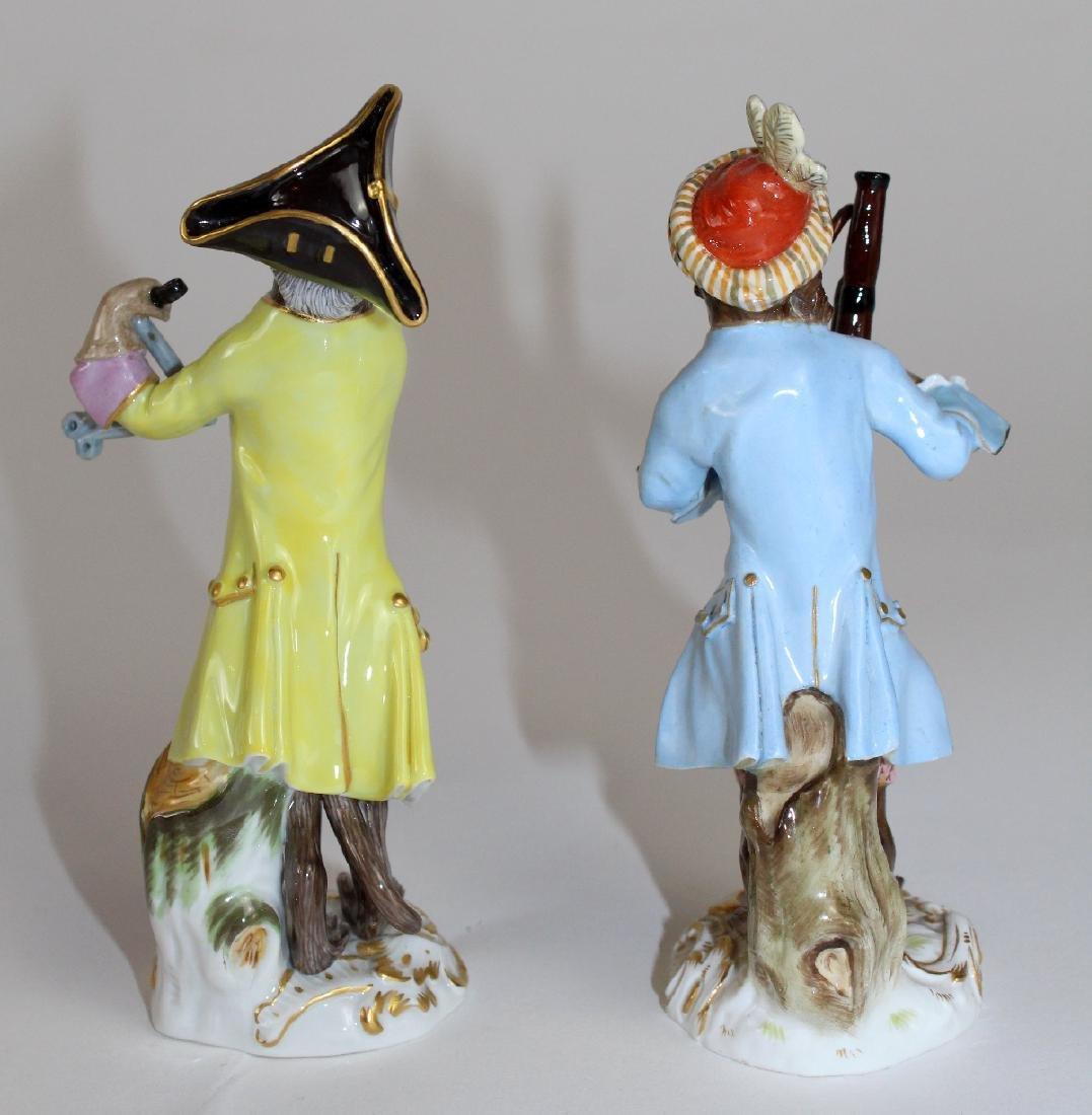 Lot of 2 Meissen porcelain monkey musician figurines - 4