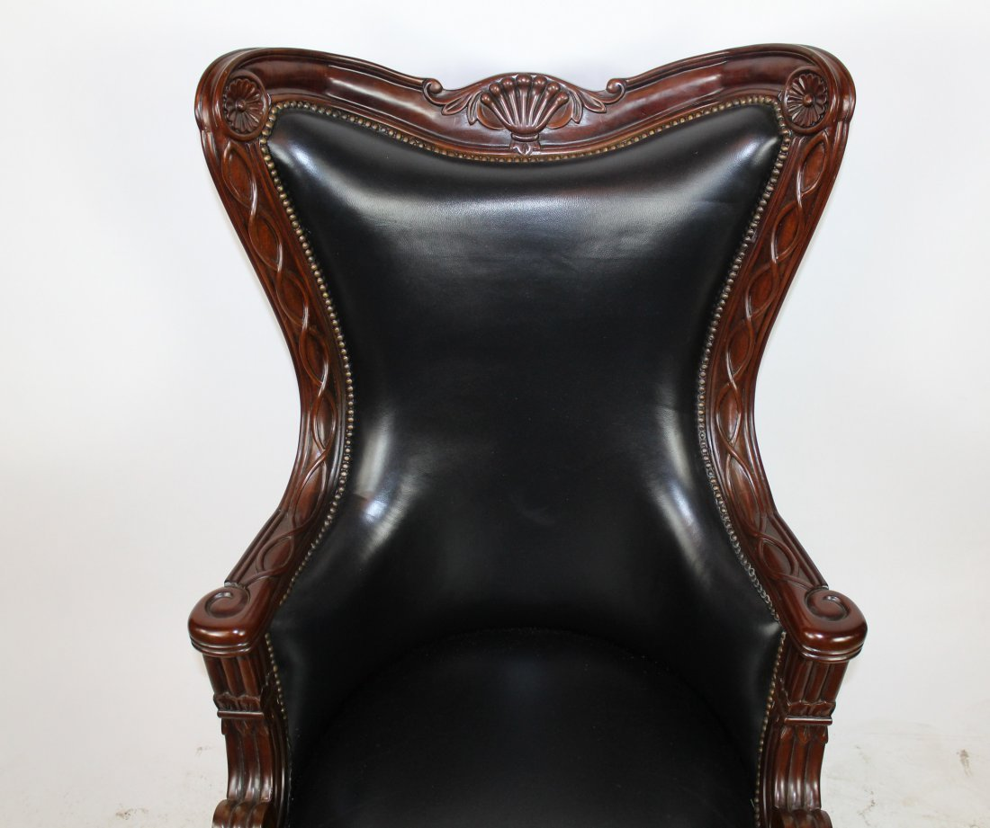 Carved mahogany swivel desk chair with leather - 2