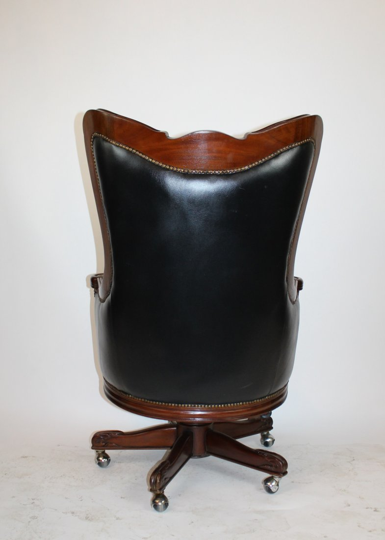 Carved mahogany swivel desk chair with leather - 4