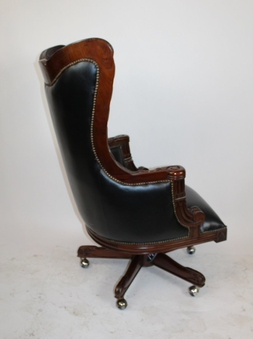Carved mahogany swivel desk chair with leather - 6