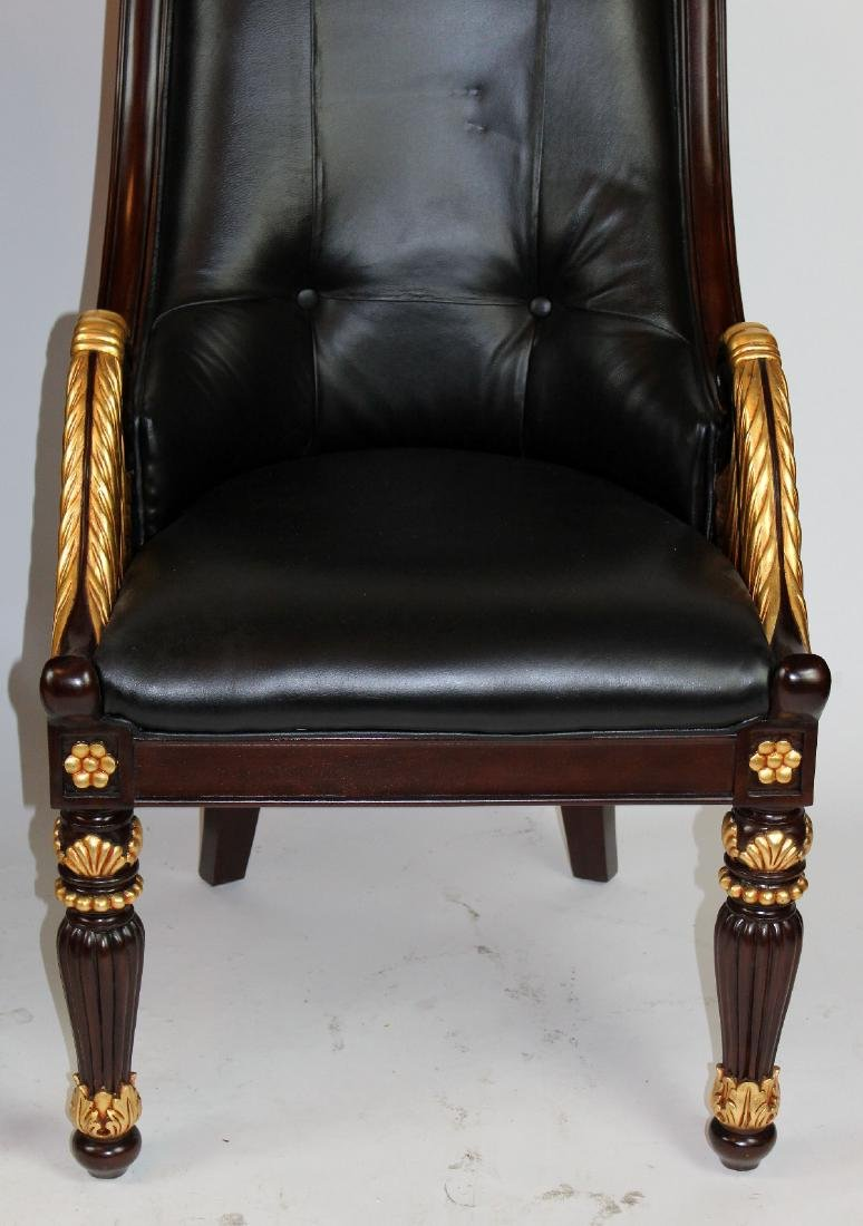 Pair of carved mahogany & leather library chairs - 2