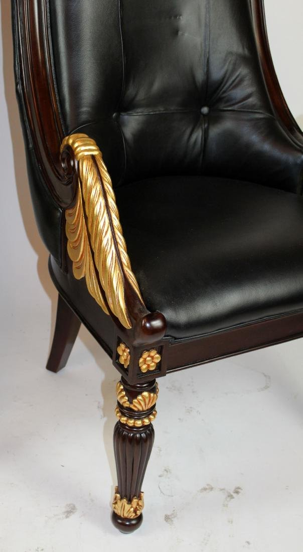 Pair of carved mahogany & leather library chairs - 3