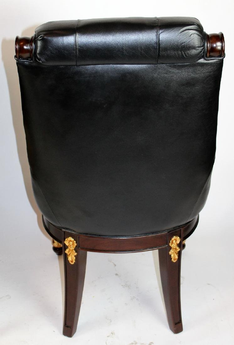 Pair of carved mahogany & leather library chairs - 4
