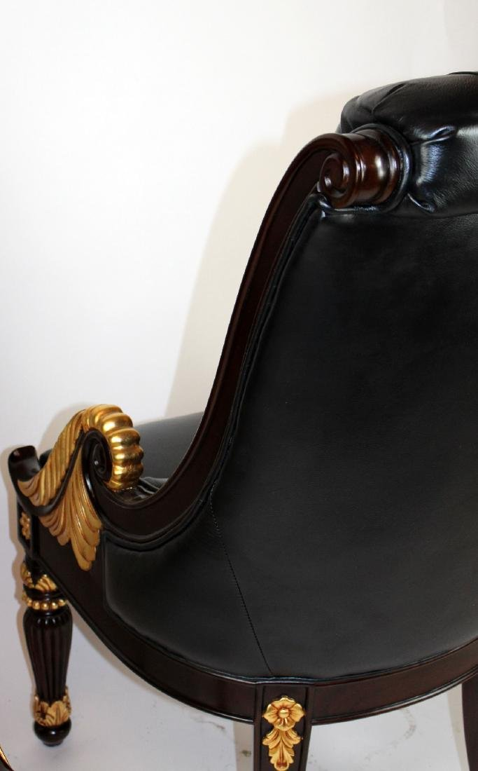 Pair of carved mahogany & leather library chairs - 5
