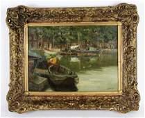 Anthony Thieme oil on canvas Harbor scene