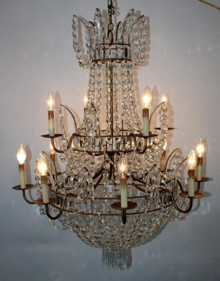 12 light crystal basket chandelier