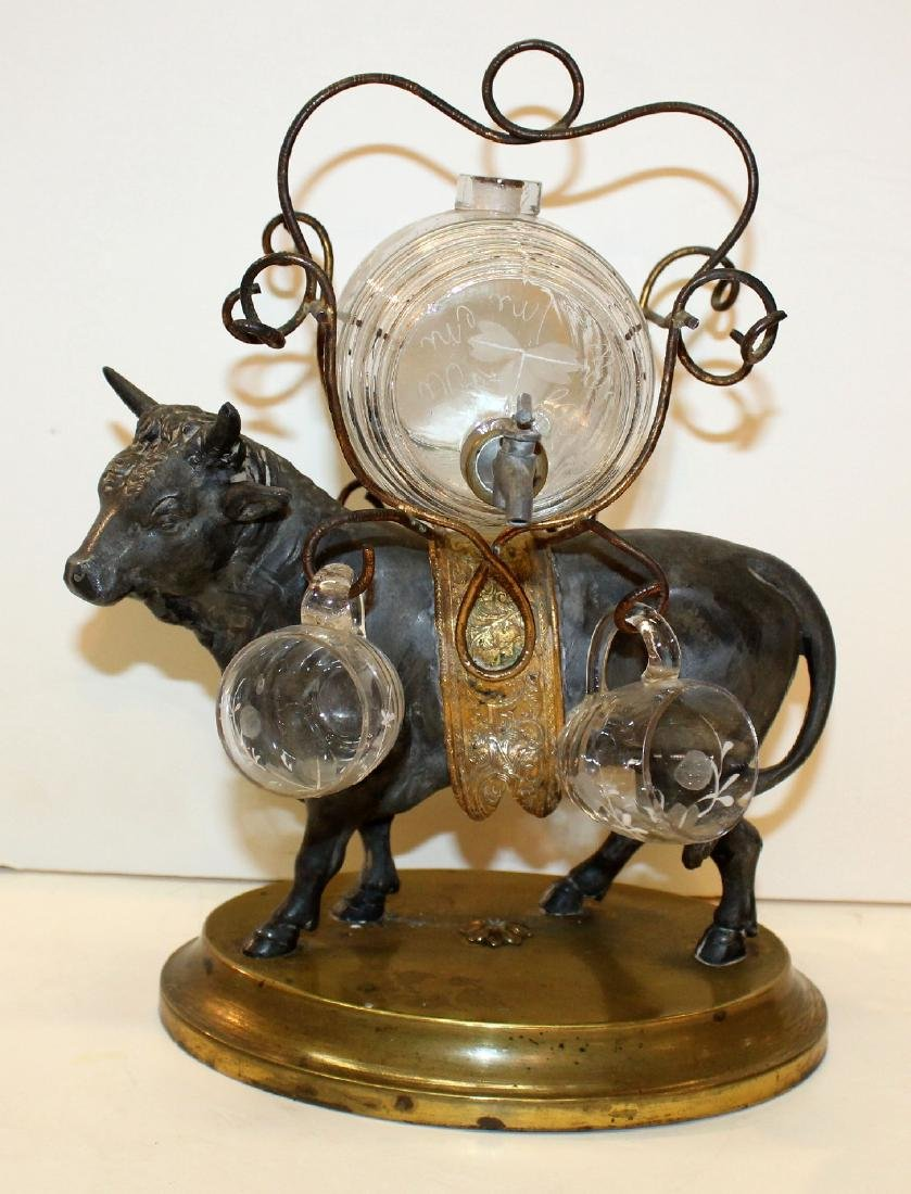 French bull tantalus set with mini glass keg & glasses