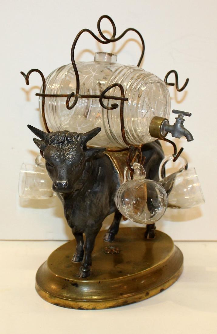 French bull tantalus set with mini glass keg & glasses - 2