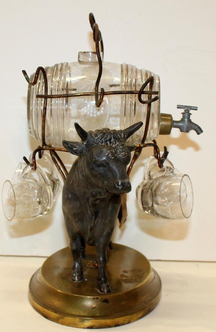 French bull tantalus set with mini glass keg & glasses - 4