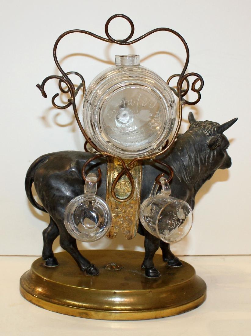 French bull tantalus set with mini glass keg & glasses - 5