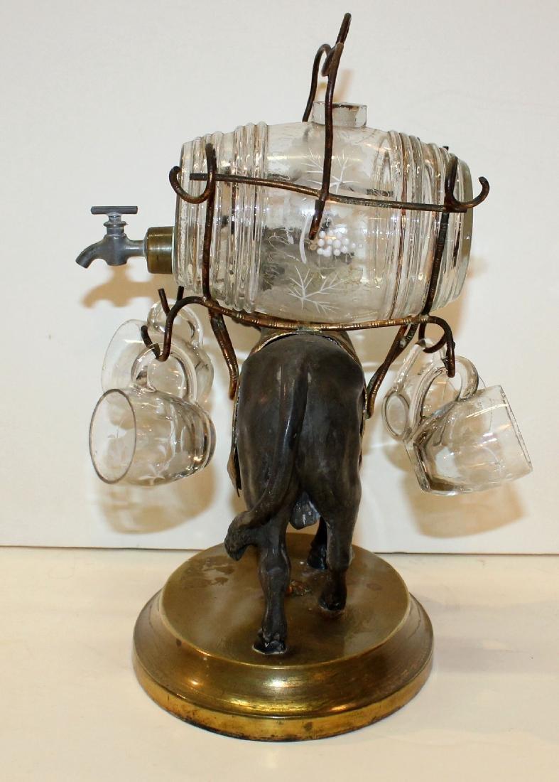 French bull tantalus set with mini glass keg & glasses - 6
