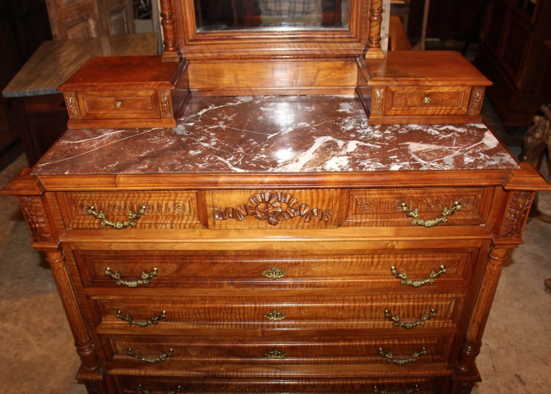 French Louis XVI commode in walnut with mirror - 4