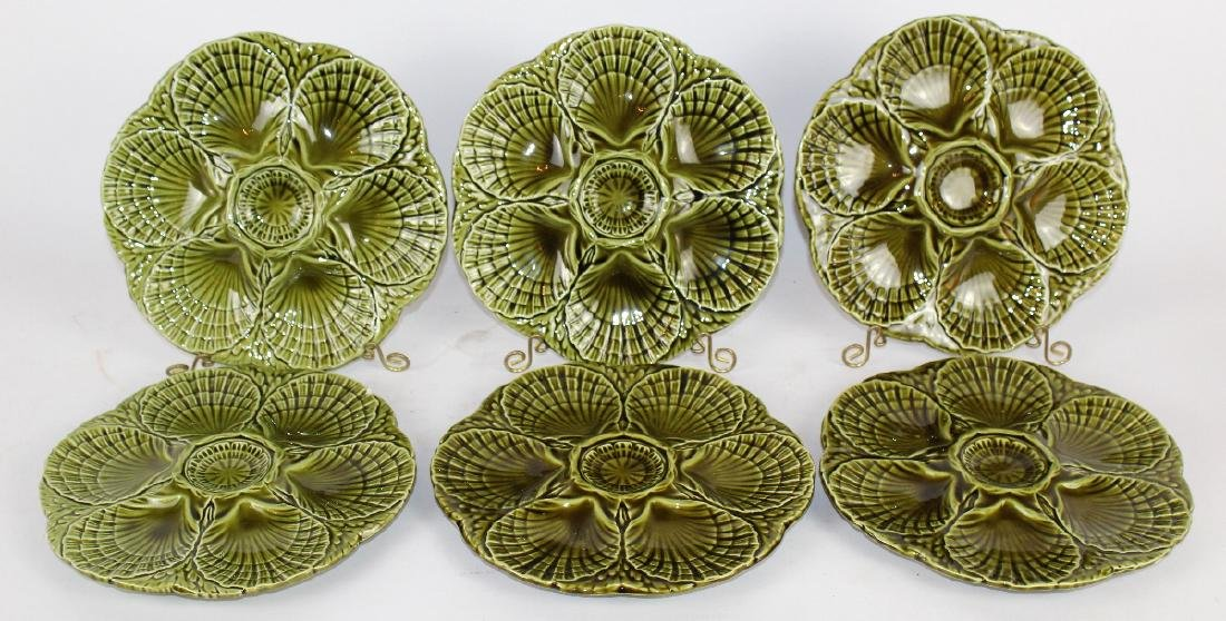 Set of 6 French Sarreguemines oyster plates