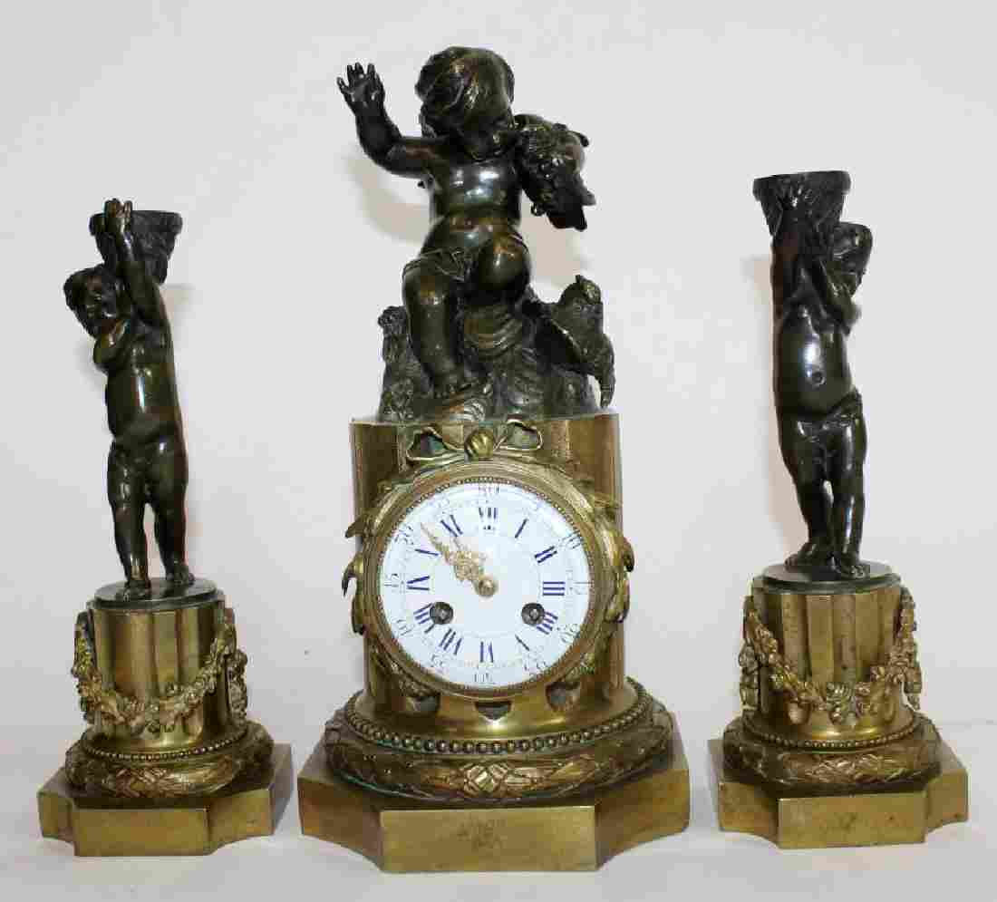 French Louis XVI bronze 3pc garniture