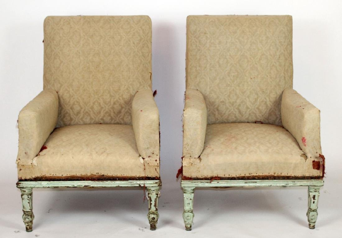 Pair of French armchairs covered in muslin. upholstery
