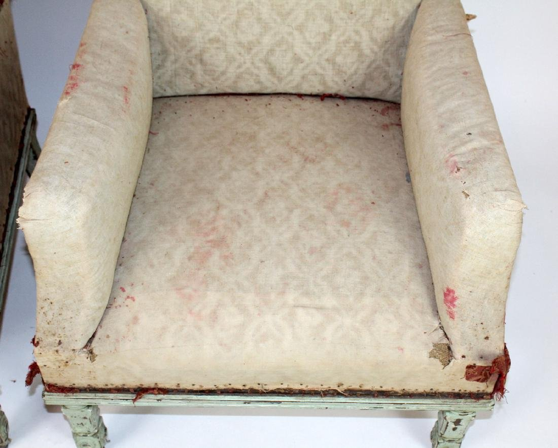 Pair of French armchairs covered in muslin. upholstery - 2