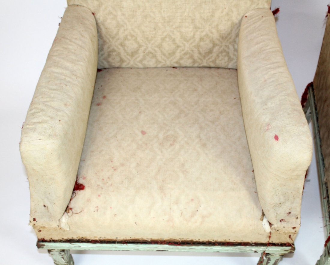 Pair of French armchairs covered in muslin. upholstery - 3
