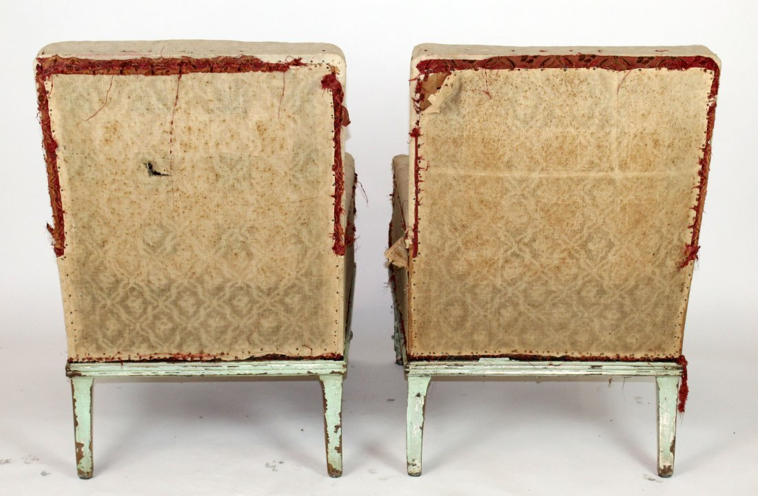 Pair of French armchairs covered in muslin. upholstery - 5