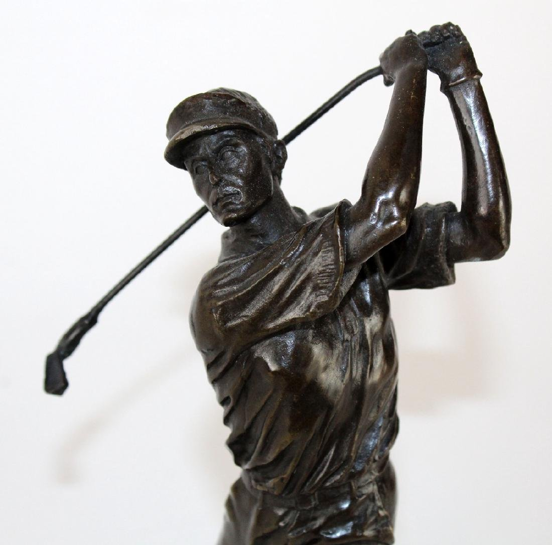 Bronze golfer statue on marble base - 3
