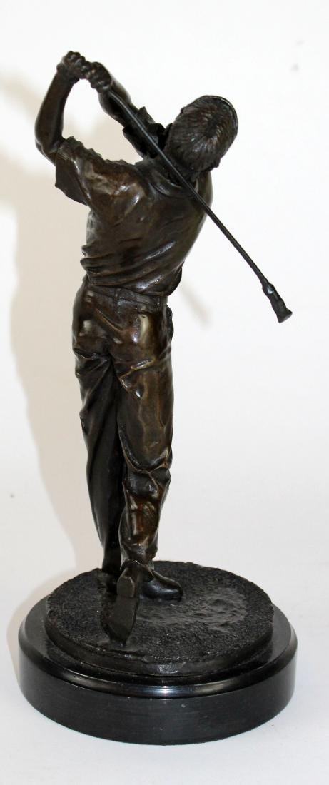 Bronze golfer statue on marble base - 4