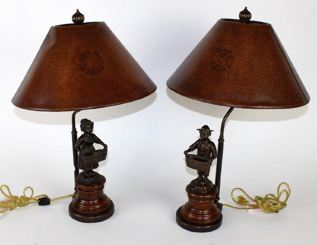 Pair Theodore Alexander figural lamps