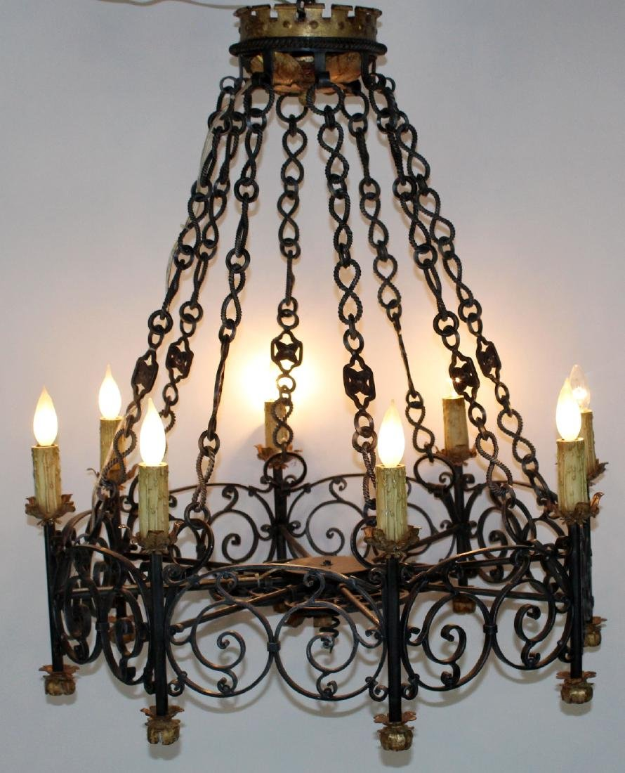 Gothic style scrolled iron ring chandelier
