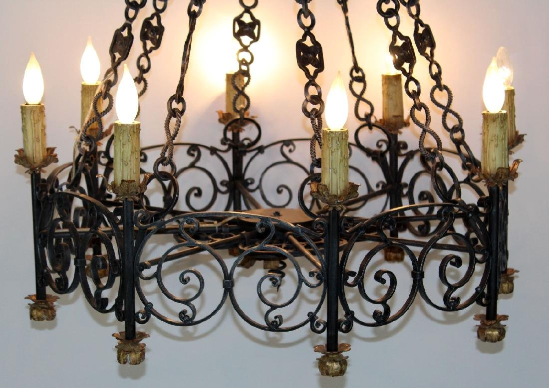 Gothic style scrolled iron ring chandelier - 2