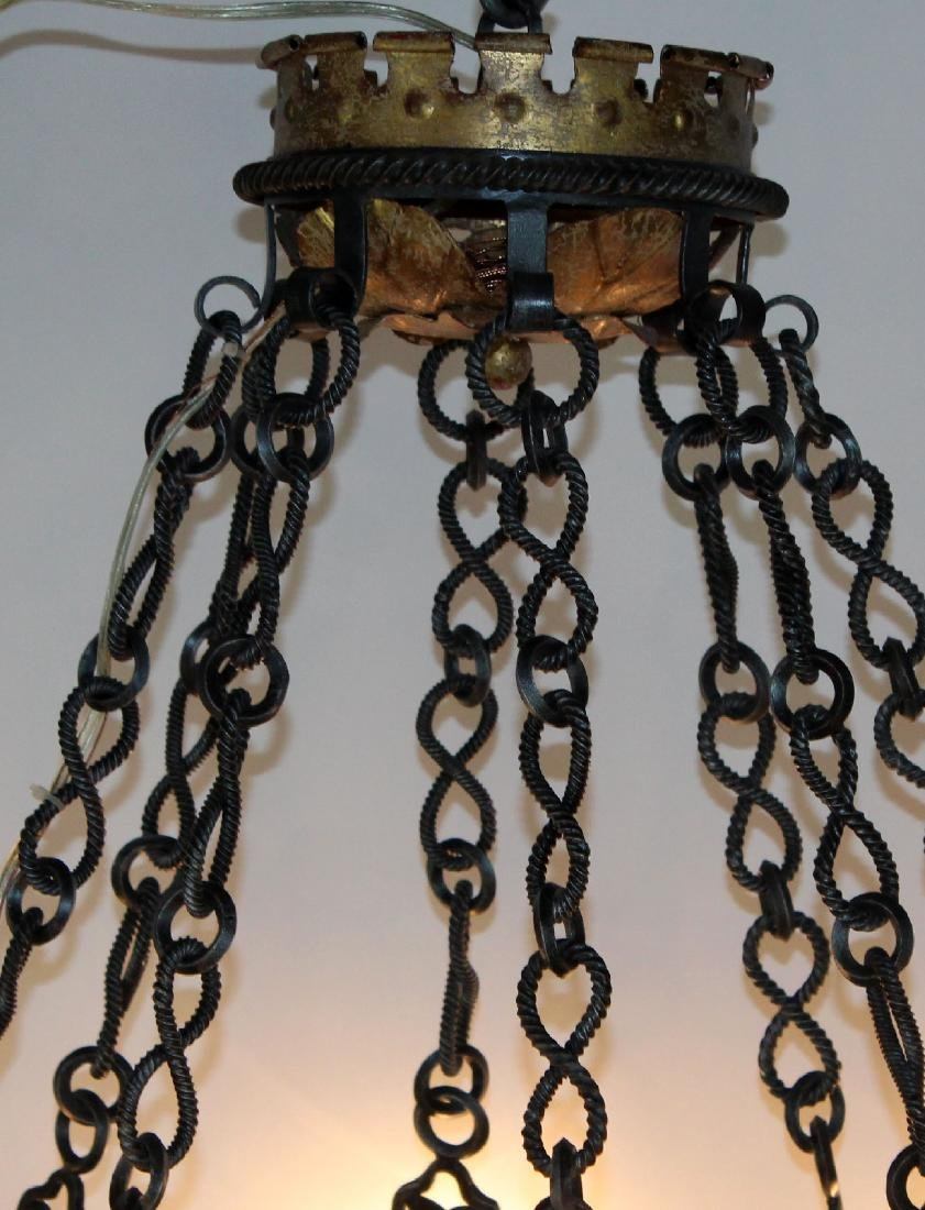 Gothic style scrolled iron ring chandelier - 3