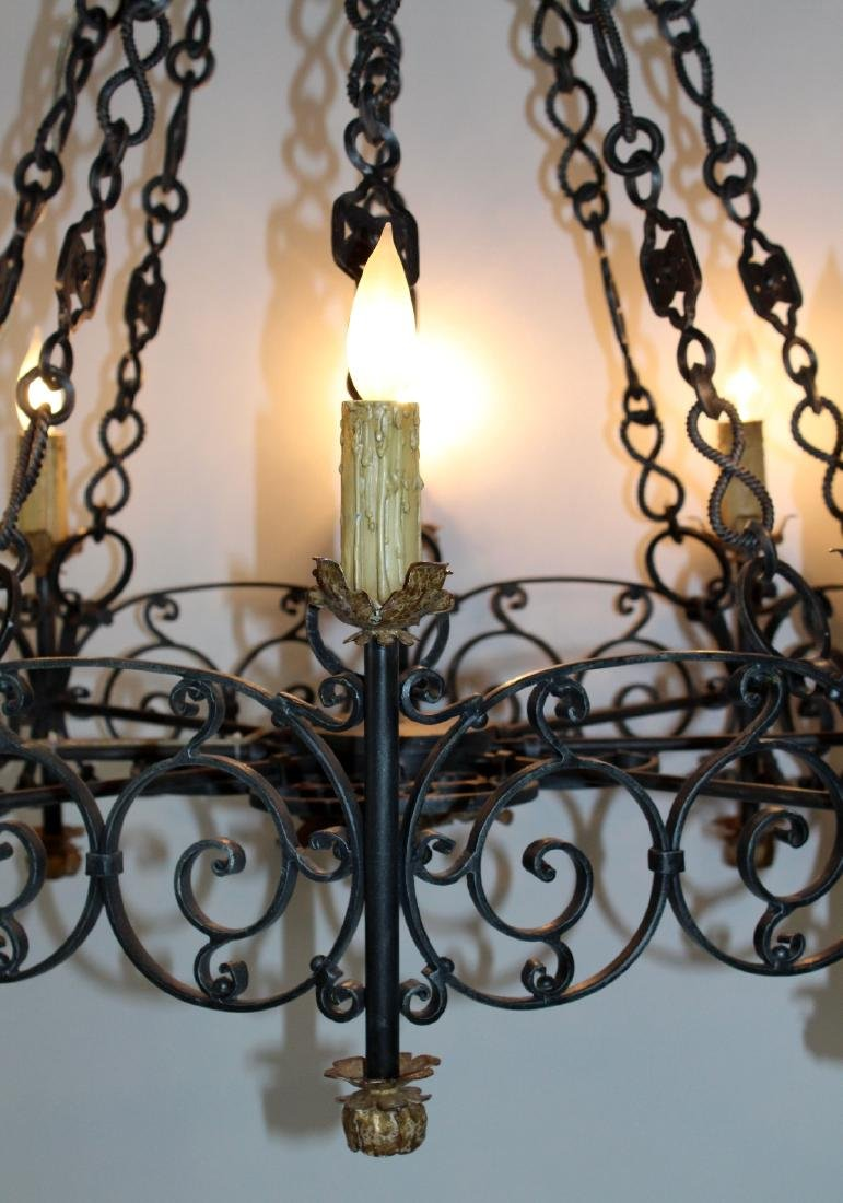 Gothic style scrolled iron ring chandelier - 4