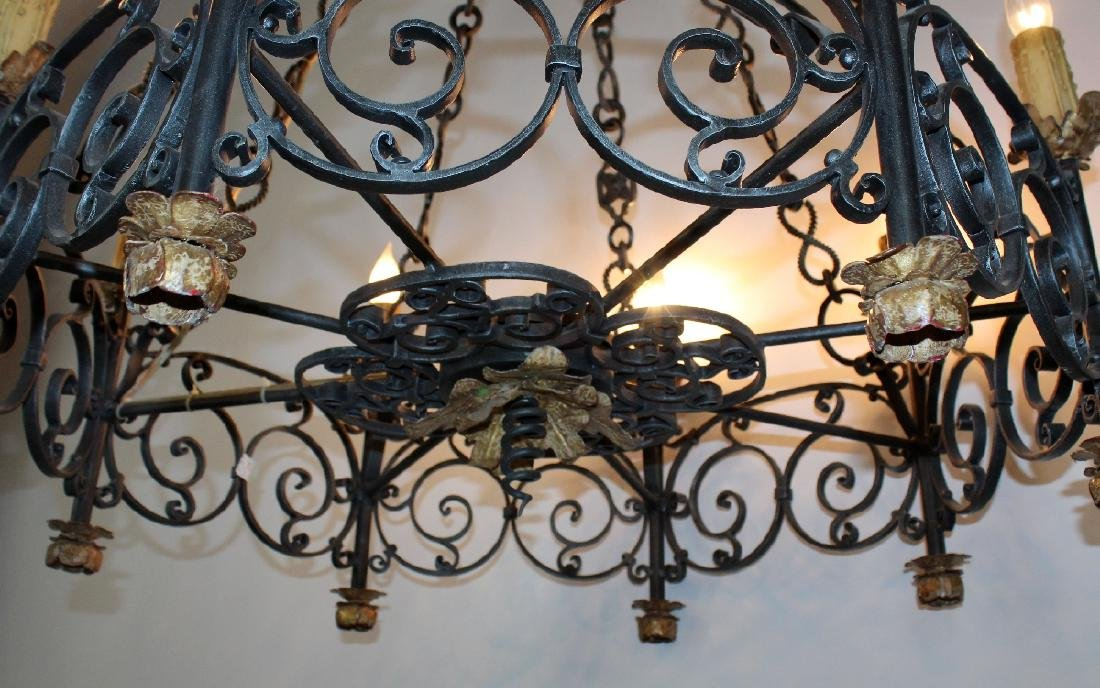 Gothic style scrolled iron ring chandelier - 5