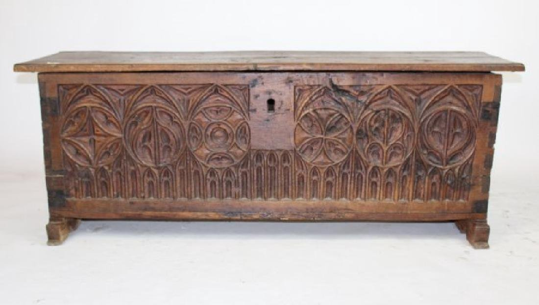 French Gothic trunk in carved walnut