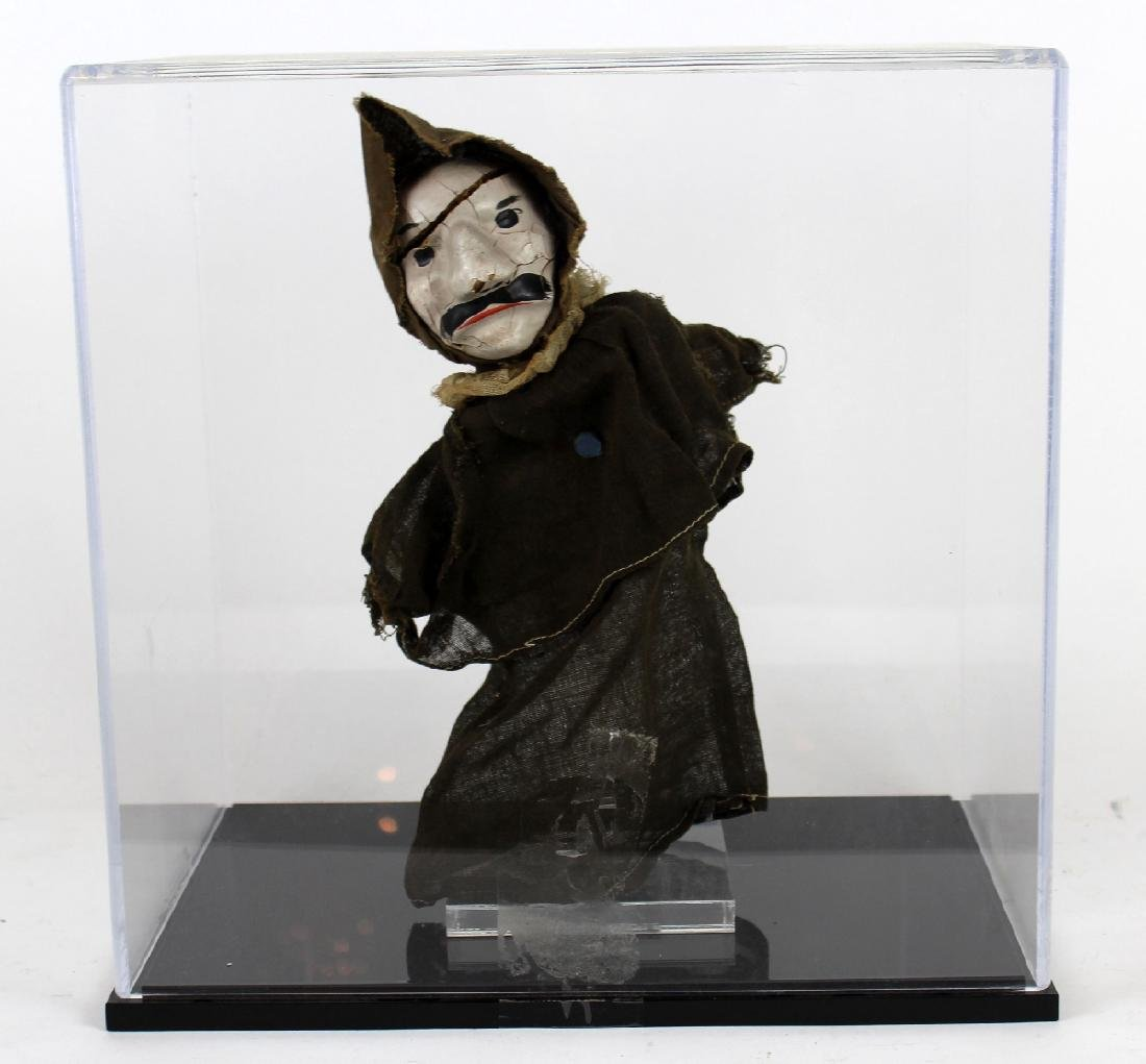 19th century English puppet in lucite display case