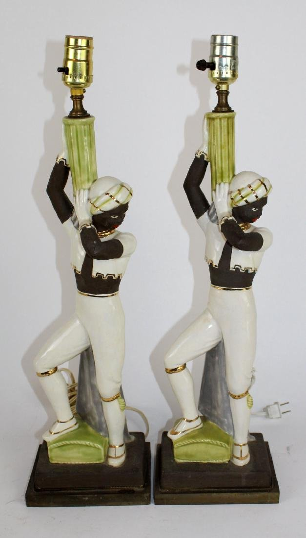 Pair of vintage chalkware Moorish dancer lamps