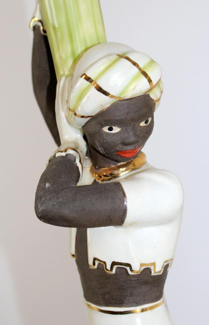 Pair of vintage chalkware Moorish dancer lamps - 3