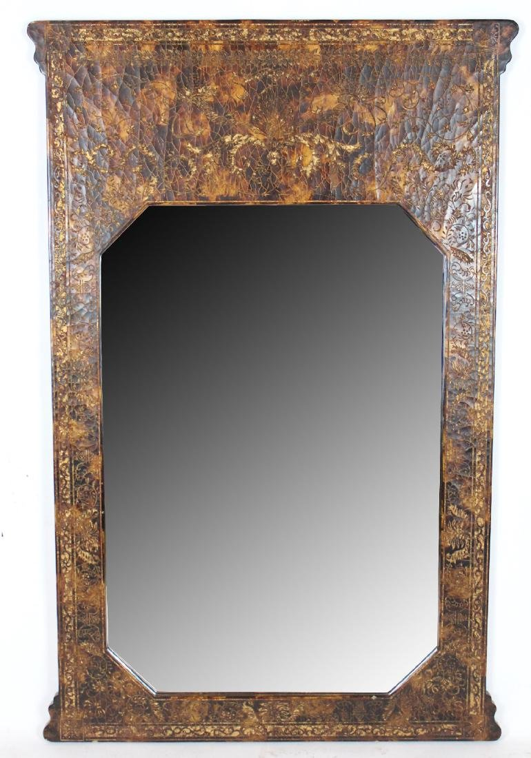 Faux tortoise shell finish decorative mirror