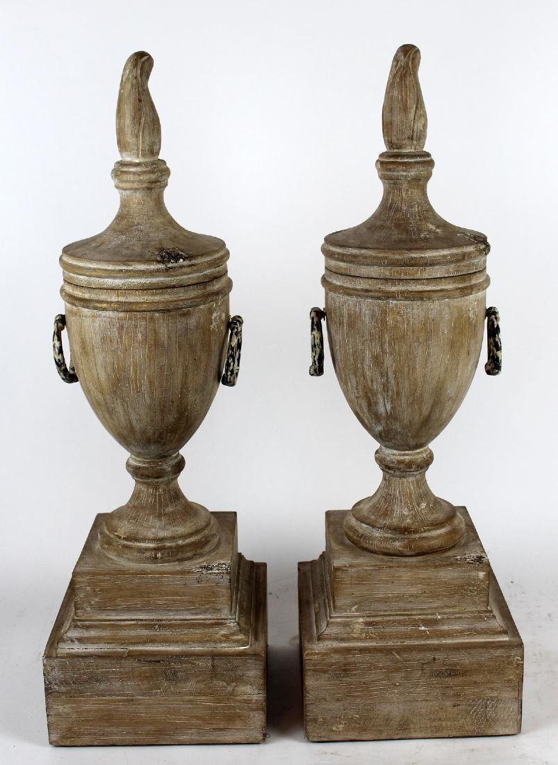 Pair of white washed turned wood urns
