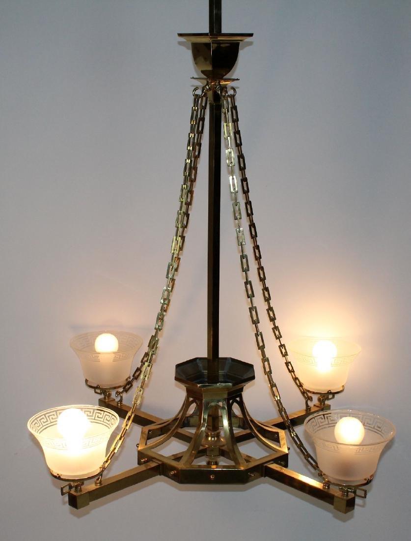 French Art Deco brass chandelier